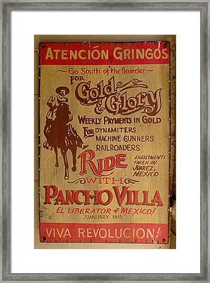 Viva Revolucion - Pancho Villa Framed Print by Richard Reeve