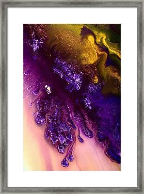 Vivid Abstract Art Purple Fugitive-gold Tones Fluid Painting By Kredart Framed Print