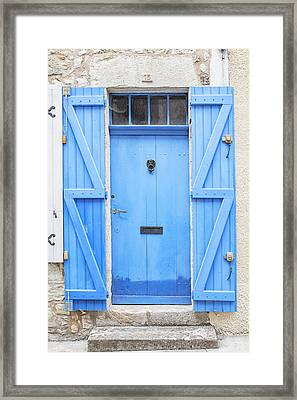 Vivid Blue Door Framed Print