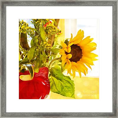 Vivid Cheery Sunflower Bouquet Framed Print by Maria Janicki