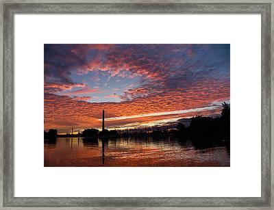 Vivid Skyscape - Summer Sunset At Toronto Beaches Marina Framed Print by Georgia Mizuleva
