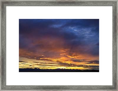 Vivid Sunset Over The Rocky Mountain Framed Print