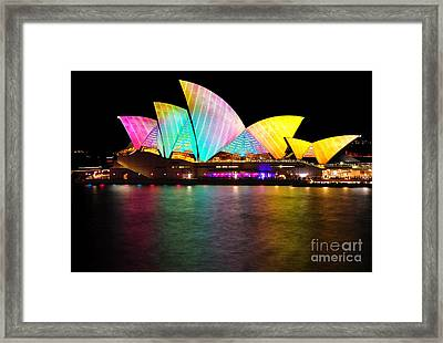 Vivid Sydney 2014 - Opera House 1 By Kaye Menner Framed Print by Kaye Menner