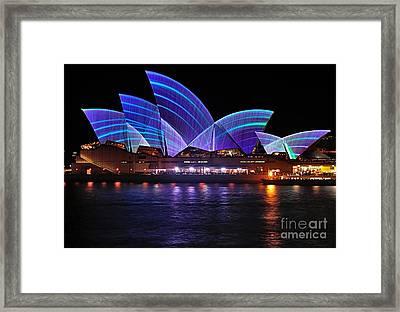 Vivid Sydney By Kaye Menner - Opera House ... Blue Lines Framed Print by Kaye Menner