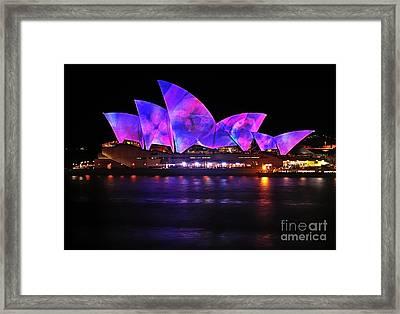 Vivid Sydney By Kaye Menner - Opera House ... Pink And Blue Framed Print by Kaye Menner