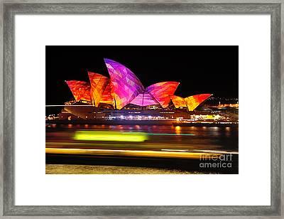 Vivid Sydney By Kaye Menner - Opera House ... Triangles Framed Print by Kaye Menner