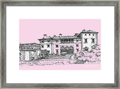 Vizacaya Museum In Baby Pink  Framed Print by Building  Art