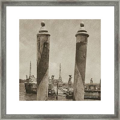 Vizcaya Boat Dock Posts And Breakwater Ship Biscayne Bay Miami Square Format Vintage Digital Art Framed Print by Shawn O'Brien