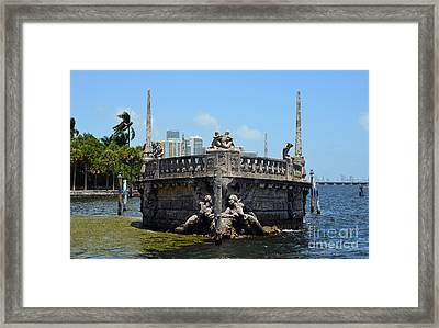 Vizcaya Breakwater Ship Bow And Skyline Biscayne Bay Coconut Grove Miami Florida Framed Print by Shawn O'Brien
