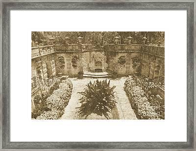 Vizcaya Mansion Museum Grounds Botanical Gardens Courtyard Miami Florida Vintage Digital Art Framed Print by Shawn O'Brien