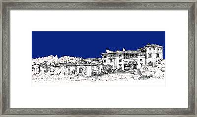 Vizcaya Museum And Gardens In Royal Blue Framed Print by Building  Art