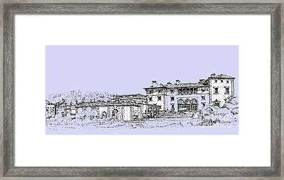 Vizcaya Museum And Gardens In Soft Blue Framed Print by Building  Art