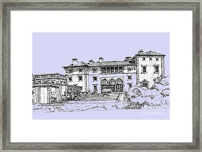 Vizcaya Museum And Gardens Powder Blue Framed Print by Building  Art