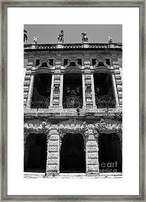 Vizcaya Museum Estate Casino Building Miami Florida Vertical Format Black And White Framed Print