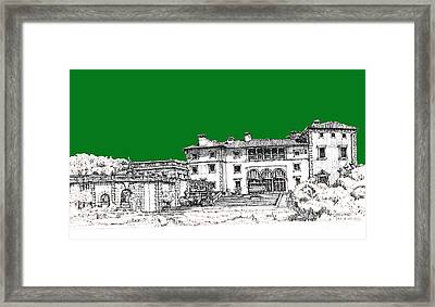 Vizcaya Museum In Green Framed Print by Building  Art