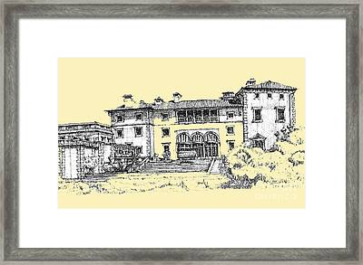 Vizcaya Museum In Light Peach Framed Print by Building  Art