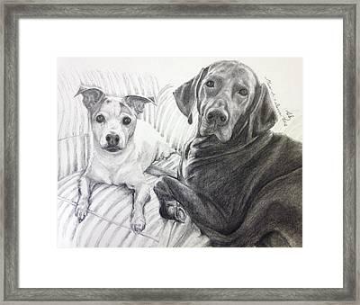 Vizsla And Jack Framed Print by Sun Sohovich