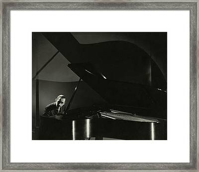 Vladimir Horowitz At A Grand Piano Framed Print by Edward Steichen