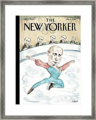 Vladimir Putin Judges His Figure Skating Framed Print by Barry Blitt