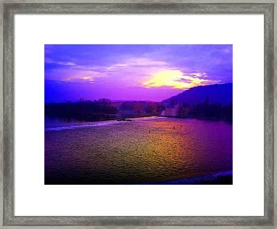 Vltava River Prague Sunset Framed Print