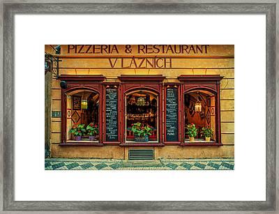Vlaznich Pizzeria And Restaurant. Prague Framed Print by Jenny Rainbow
