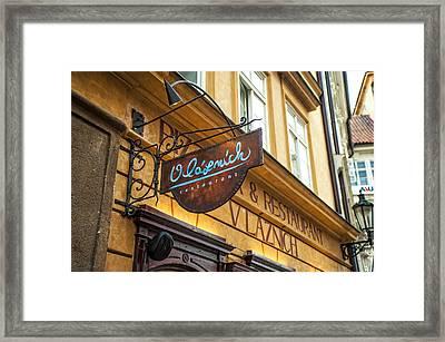 Vlaznich Restaurant In Old Town. Prague Framed Print by Jenny Rainbow