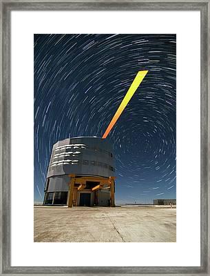 Vlt And Laser Guide Under Star Trails Framed Print