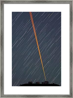 Vlt And Laser Guide Under Star Trails Framed Print by G. Brammer/eso