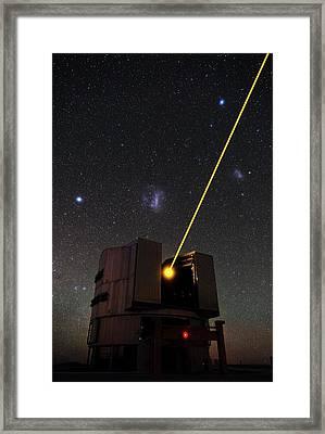 Vlt And Laser Guide Under Stars Framed Print by Eso/b. Tafreshi (twanight.org)