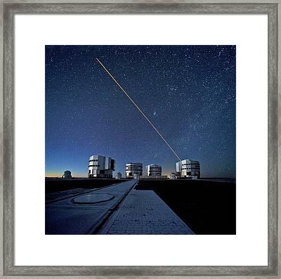 Vlt And Laser Guide Under Stars Framed Print by Eso/s. Brunier