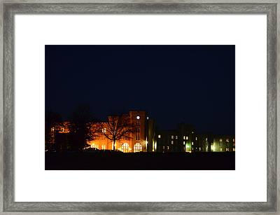 Framed Print featuring the photograph Vmi Night Lights by Cathy Shiflett