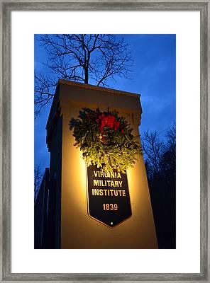 Framed Print featuring the photograph Vmi North Gate Pylon  by Cathy Shiflett