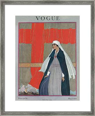 Vogue Cover Featuring A Nurse Framed Print by Porter Woodruff