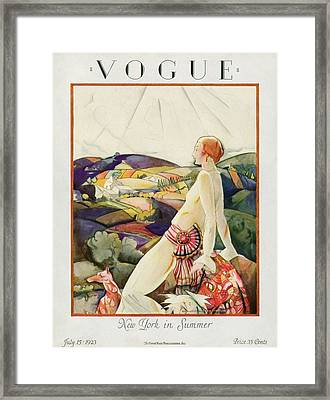 Vogue Cover Featuring A Woman And Her Dog Framed Print