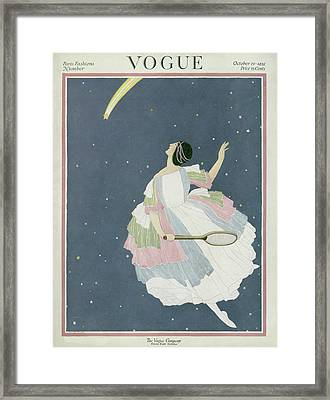 Vogue Cover Featuring A Woman Flying Framed Print by George Wolfe Plank