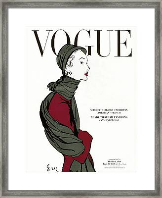 Vogue Cover Featuring A Woman In A Grey Scarf Framed Print by Carl Oscar August Erickson