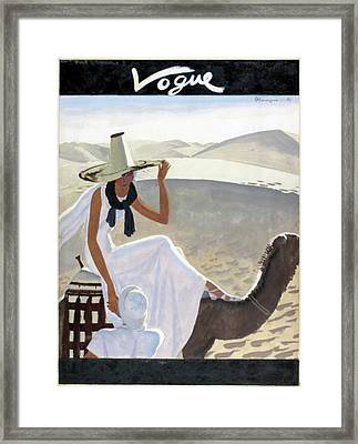 Vogue Cover Featuring A Woman Riding A Camel Framed Print