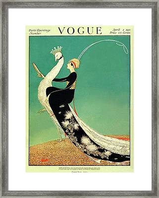 Vogue Cover Featuring A Woman Sitting On A Giant Framed Print by George Wolfe Plank