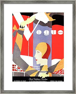 Vogue Cover Featuring A Woman Waving Framed Print