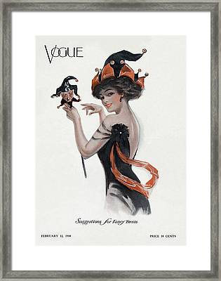 Vogue Cover Of Woman As Jester Framed Print by Artist Unknown