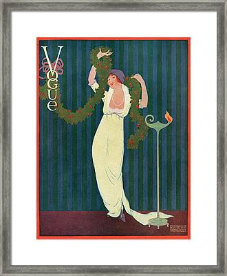 Vogue Cover Featuring A Woman Wearing A Yellow Framed Print by Helen Dryden
