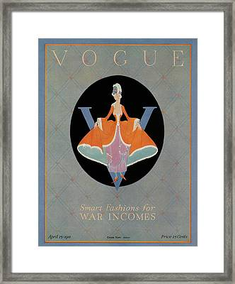 Vogue Cover Featuring A Woman Wearing An Orange Framed Print by Dorothy Edinger