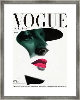 Vogue Cover Featuring A Woman's Face Framed Print