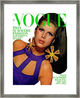 Vogue Cover Featuring Birgitta Af Klercker Framed Print by Bert Stern