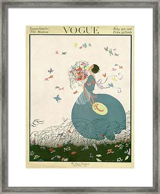 Vogue Cover Featuring Carrying A Bouquet Framed Print by Helen Dryden