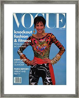 Vogue Cover Featuring Christy Turlington Framed Print by Patrick Demarchelier