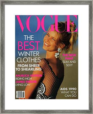 Vogue Cover Featuring Claudia Schiffer Framed Print by Patrick Demarchelier