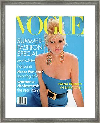 Vogue Cover Featuring Ivana Trump Framed Print by Patrick Demarchelier