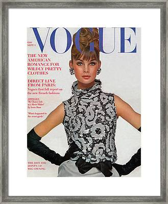 Vogue Cover Featuring Jean Shrimpton Framed Print by Bert Stern