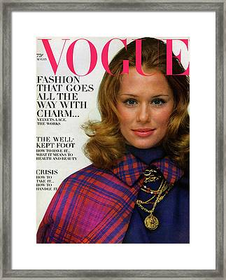 Vogue Cover Featuring Lauren Hutton Framed Print